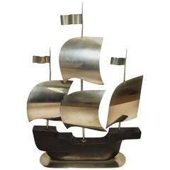 Hagenauer Art Deco Ship Sculpture in Wood and Nickelled Bronze
