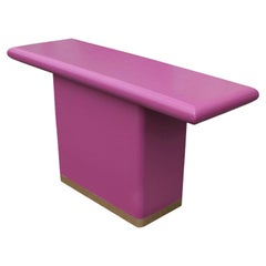 Magenta and Brass Lacquered Modern Rectangular Console Table