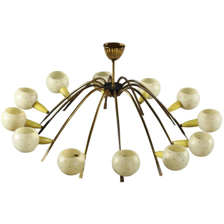 Charming Italian Ceiling Flush Mount Attributed by Stilnovo, Italy, 1950