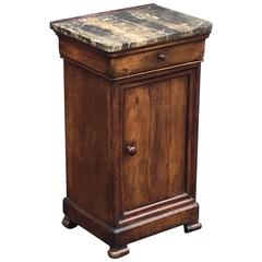 French Nightstand of Walnut with Granite Top