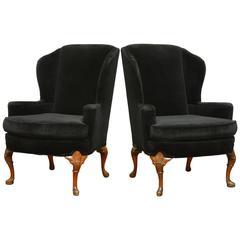Pair of George III Style Black Velvet Wing Chairs