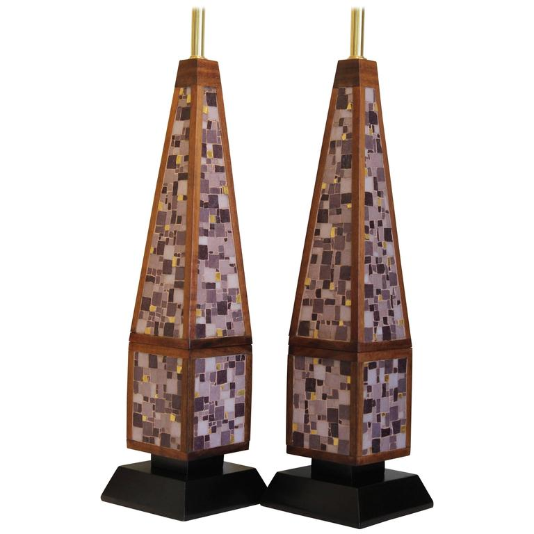 Pair of Monumental Glass Mosaic Obelisk Lamps