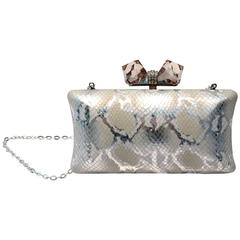 Judith Leiber Silver Python Print Leather Evening Bag