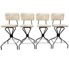 Set of Four Steel and Chrome Swivel Bar Stools
