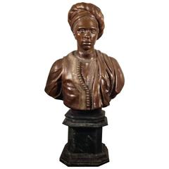 Large Orientalist Bust in Bronze with Green Marble Base, Mid-20th Century