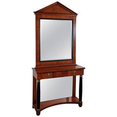 French Cherrywood Console and Matched Mirror