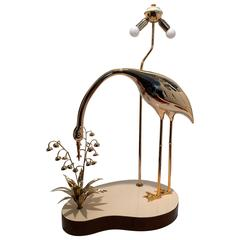 Floor Lamp with a Brass Sculpture of a Heron and Flowers