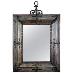 Glass and Silver Italian Mirror, circa 1950