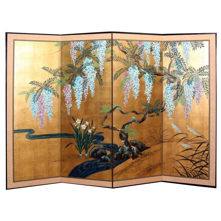 Hand-Painted Japanese Folding Screen Byobu Floral Painting, Watercolor, Goldleaf