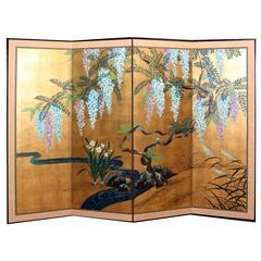 Hand-Painted Japanese Folding Screen Byobu Floral Painting, Watercolor, Goldleaf