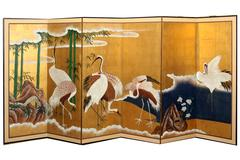 Hand-Painted Japanese Folding Screen Byobu Cranes Painting, Watercolor, Goldleaf