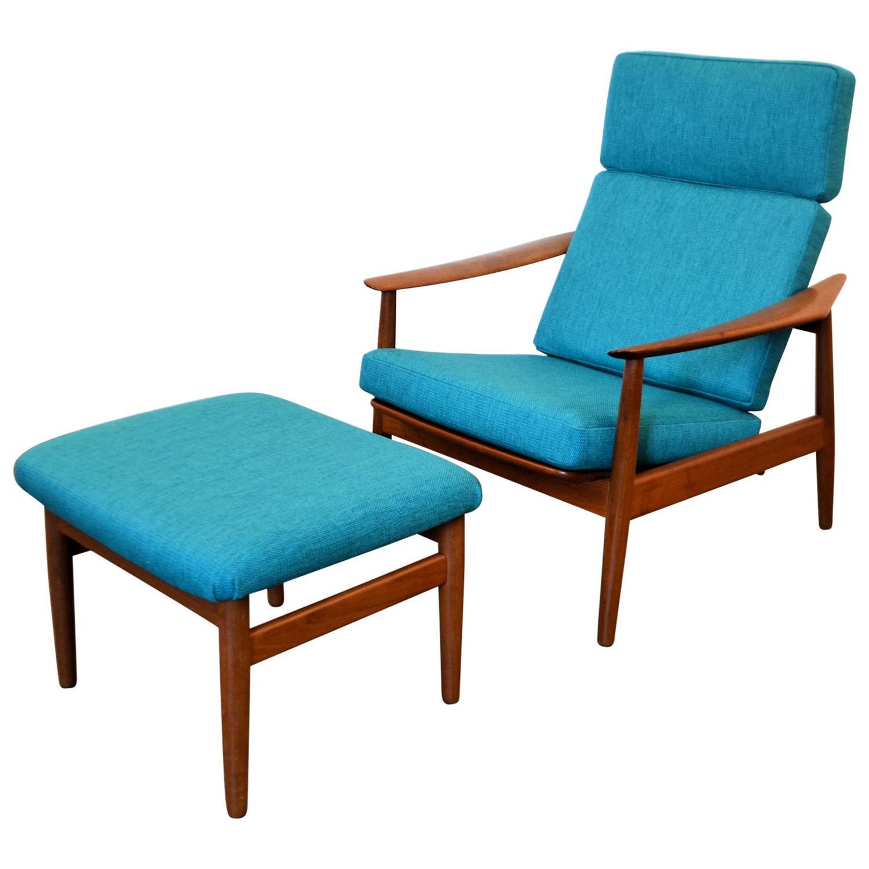 Arne Vodder Teak Lounge Chair Model FD164 And Ottoman At 1stdibs
