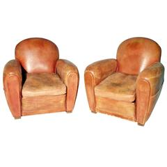 Pair of French Leather Club Chairs from 1930s