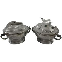 Pair of Chinese Pewter Tureens, Qing Dynasty