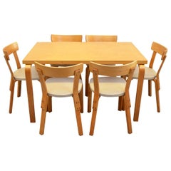 Midcentury Dining Set in Birch by Alvar Aalto for Artek, Finland