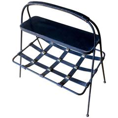 Jacques Adnet Rare Black Magazine Rack in Wrought Iron and Hand-Stitched Leather