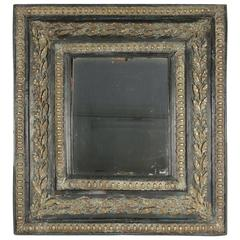 19th Century Mirror with its Original Mercury Glass in Ebonized Wood with Brass