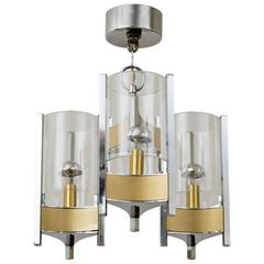 Sciolari Brushed Brass and Chrome Hurricane Glass Chandelier
