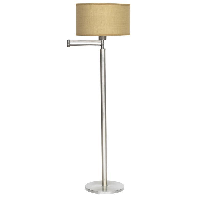 Walter Von Nessen Style Brushed Aluminium Swing Arm Floor Lamp 1