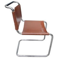 Bauhaus Design Cantilevered Tubular Metal and Saddle Leather Chair by Mart Stam