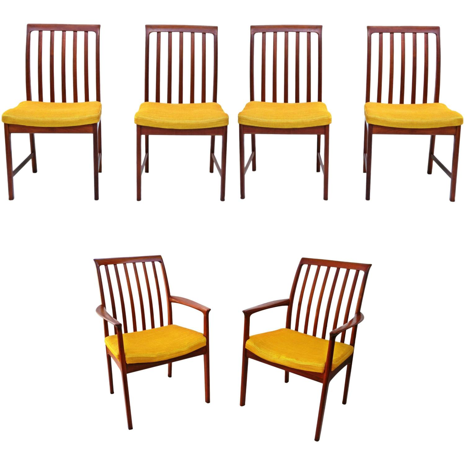 six danish modern folke ohlsson dux teak dining room chairs at 1stdibs