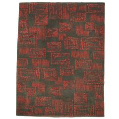 1950s Red and Grey Geometric Abstract Wool Rug