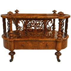 Burr Walnut Victorian Period Antique Canterbury