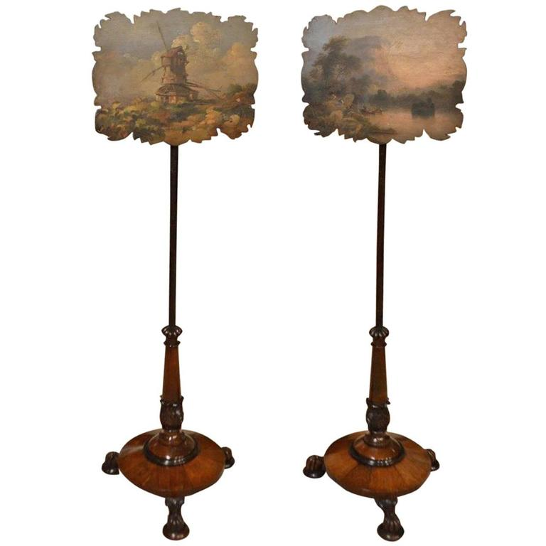 Charming Pair of Rosewood Early Victorian Period Antique Pole Screens For Sale