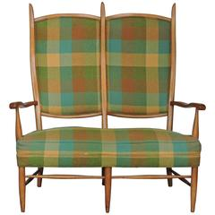 Edward Wormley High Back Maple Settee