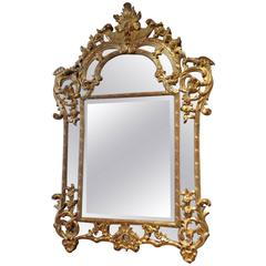 Large Gilded Wood and Mercury Glass Mirror Regency, Early 19th Century