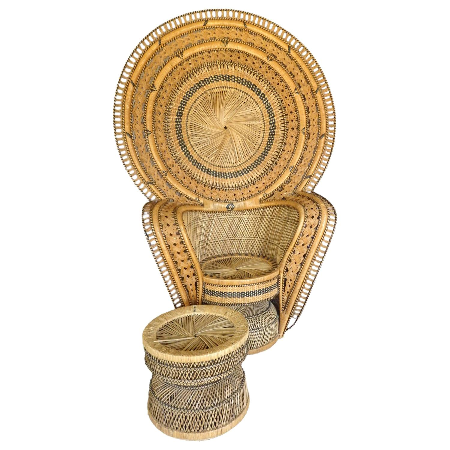 and Impressive Woven Rattan Peacock Chair with Ottoman at