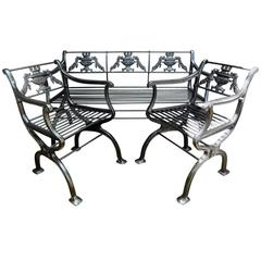 Antique Cast Iron Regency Garden Set, Bench and Chairs
