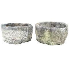 Pair of Hand-Carved Stone 18th Century Troughs or Planters