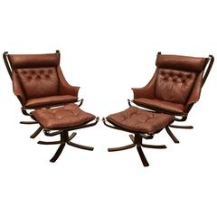 Pair of Sigurd Ressel Falcon Chair and Footstools