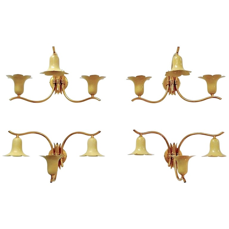 Two Pair of Vintage Italian Brass Lily Sconces For Sale