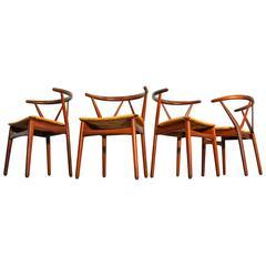 Set of Four Henning Kjaernulf for Bruno Hansen Model 225 Teak Dining Chairs
