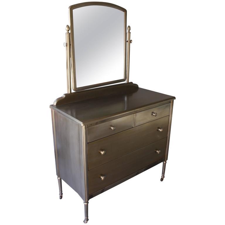 1930s Industrial Metal Dresser With Original Mirror At 1stdibs