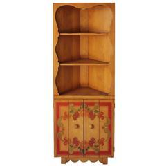 1930s Signed Monterey Corner Hutch Cabinet