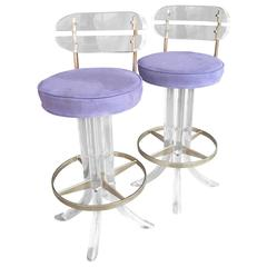 Pair of Swivel, Lucite, Metal Bar Stools Attributed to Charles Hollis Jones