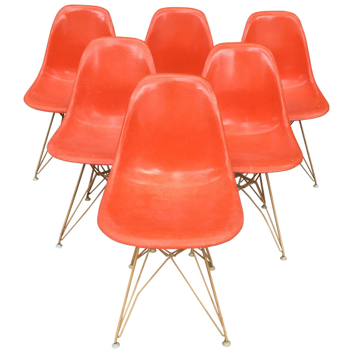 Charles And Ray Eames Set Of Six Eiffel Tower Chairs Herman Miller 1960 At