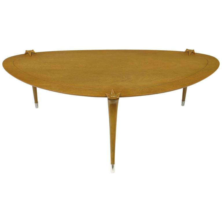 1950s Walnut Triangular Coffee Table With Talon Clasp Legs And Aluminum Sabots For