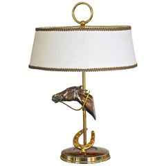 French Horse Equestrian Brass Table Lamp