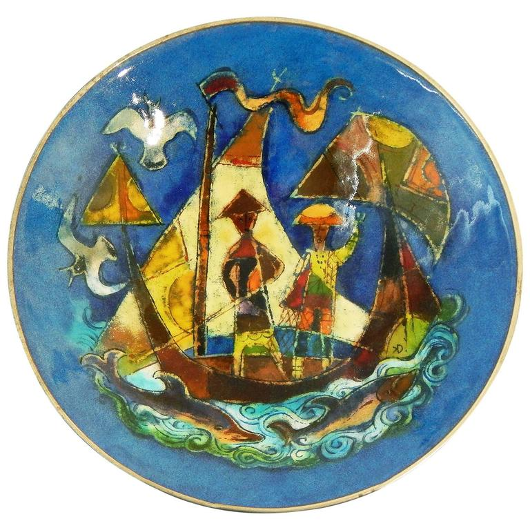 """""""Sailing Ship and Dolphins,"""" Important Mid-Century Bowl with Vivid Enamels"""