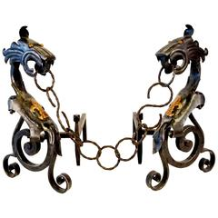 Spectacular Pair of 1920's Wrought Iron Gothic Revival Dragon Andirons