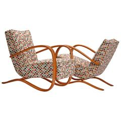 Two Streamline Lounge Chairs H-269 by Jindrich Halabala for Up Zavody
