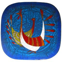 Enameled Copper Plate by Miguel Pineda, circa 1960, Signed by the Artist