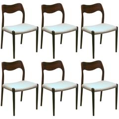 Set of 6 Vintage Rosewood Model 71 Dining Chairs by N.O. Moller