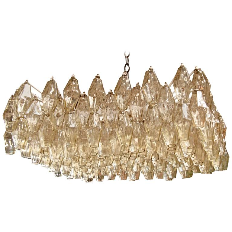 Italian Murano Square Chandelier by Tobia Scarpa for Venini For Sale