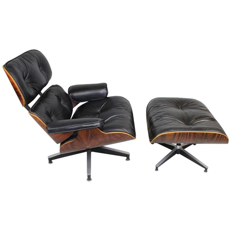 Eames Rosewood 670 Lounge Chair And 671 Ottoman In Black Leather At 1stdibs