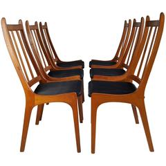 Set of Six Teak Dining Chairs, Made in Denmark, Kai Kristiansen